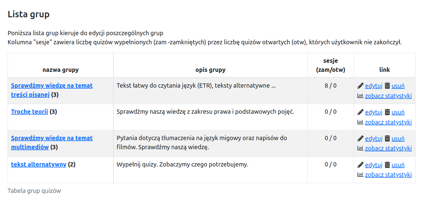 widok listy grup